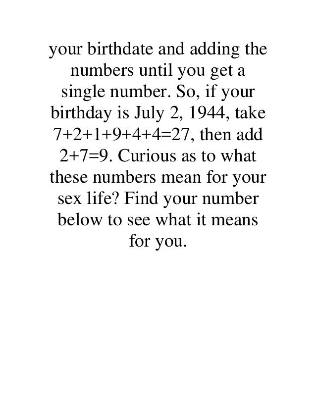 Sex by numerology
