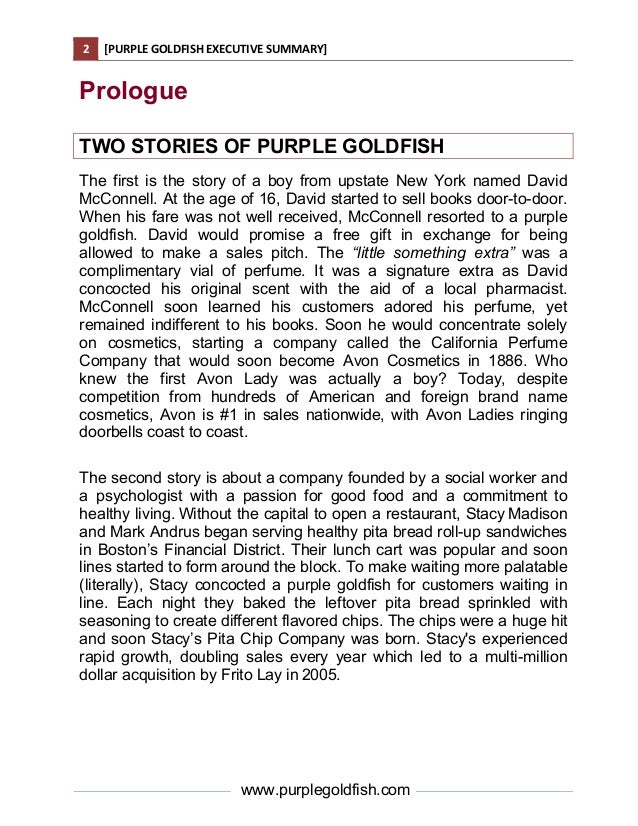 Purple Goldfish Executive Summary – An Executive Summary