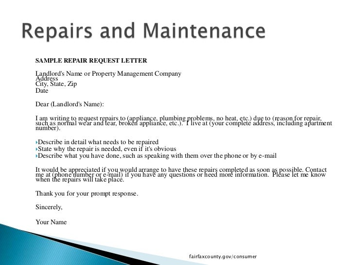how to write a request letter to landlord