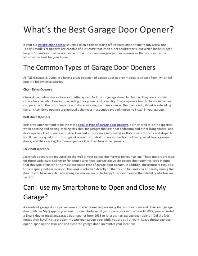 What S The Best Garage Door Opener