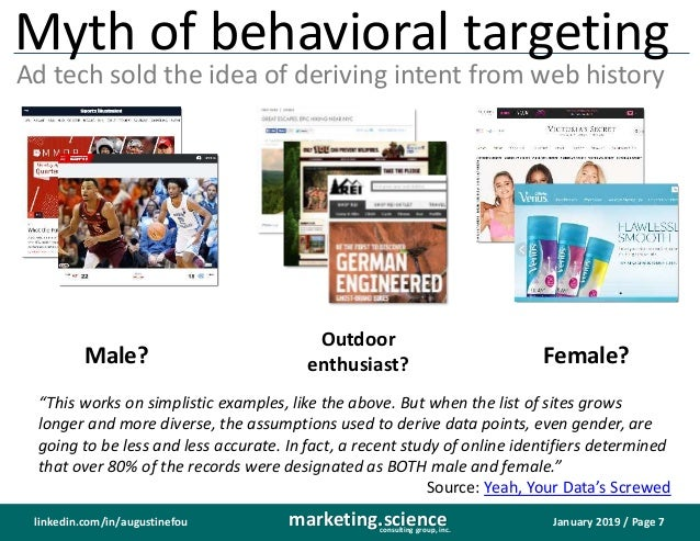 January 2019 / Page 7marketing.scienceconsulting group, inc. linkedin.com/in/augustinefou Myth of behavioral targeting Ad ...