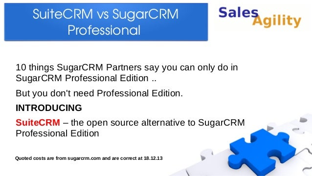 SuiteCRM vs SugarCRM  Professional  10 things SugarCRM Partners say you can only do in SugarCRM Professional Edition .. Bu...