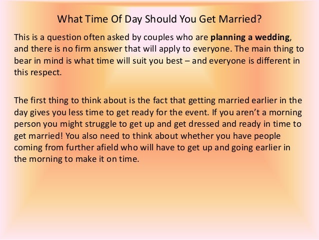 Why should i get married