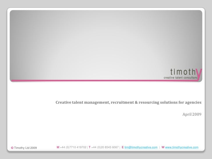 Creative talent management, recruitment & resourcing solutions for agencies                                               ...