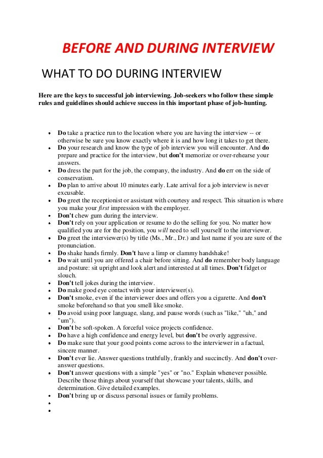 BEFORE AND DURING INTERVIEW WHAT TO DO DURING INTERVIEW Here Are The Keys  To Successful Job ...  Interviewing Tips