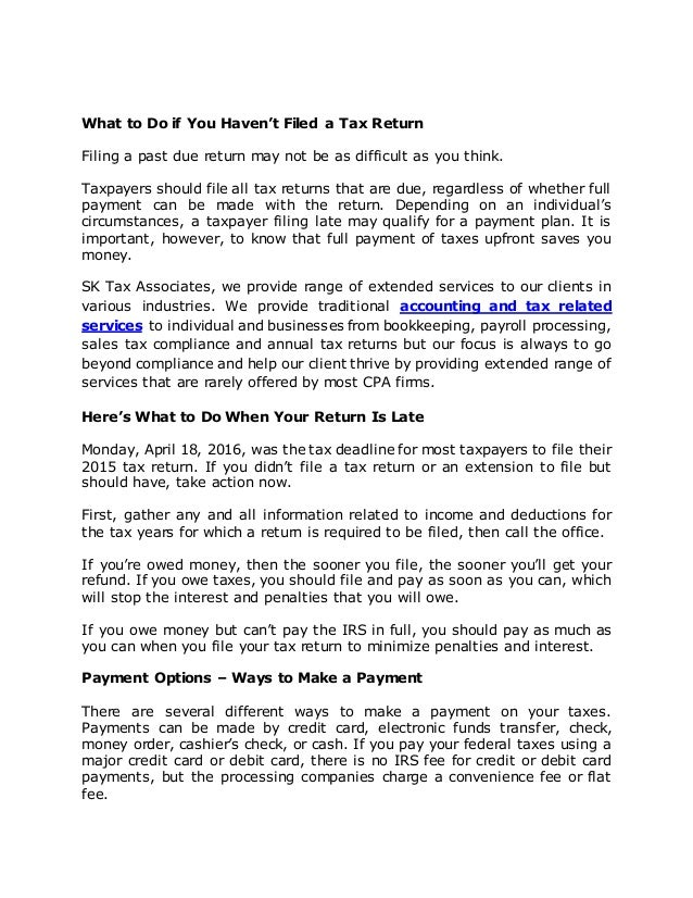 What to do if you havent filed a tax return what to do if you havent filed a tax return filing a past due payment reheart Images