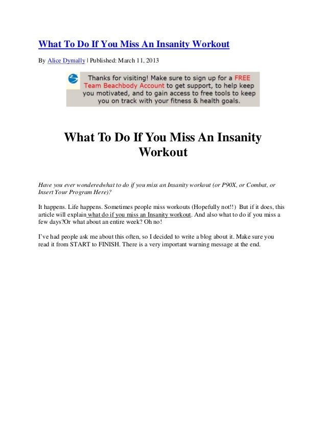 What To Do If You Miss An Insanity Workout