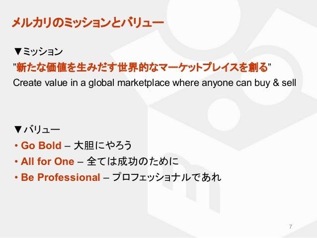 """メルカリのミッションとバリュー ▼ミッション """"新たな価値を生みだす世界的なマーケットプレイスを創る"""" Create value in a global marketplace where anyone can buy & sell ▼バリュー..."""