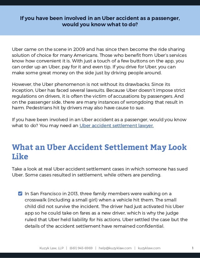 What to Expect From an Uber Accident Settlement