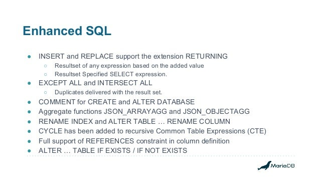 Enhanced SQL ● INSERT and REPLACE support the extension RETURNING ○ Resultset of any expression based on the added value ○...