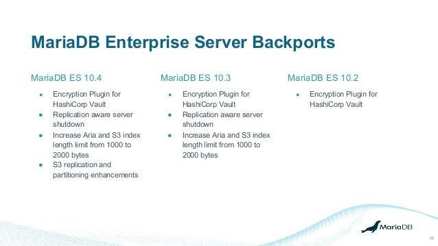 MariaDB Enterprise Server Backports MariaDB ES 10.4 32 ● Encryption Plugin for HashiCorp Vault ● Replication aware server ...