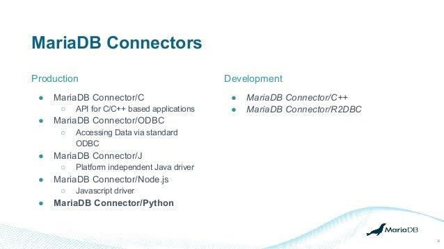 MariaDB Connectors Production 6 ● MariaDB Connector/C ○ API for C/C++ based applications ● MariaDB Connector/ODBC ○ Access...