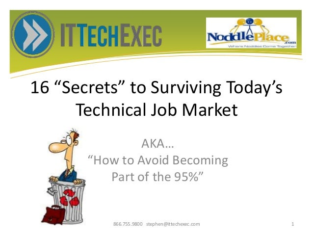 """16 """"Secrets"""" to Surviving Today's Technical Job Market AKA… """"How to Avoid Becoming Part of the 95%"""" 866.755.9800 stephen@i..."""