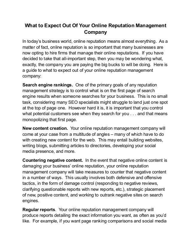 What to Expect Out Of Your Online Reputation Management                         CompanyIn today's business world, online r...