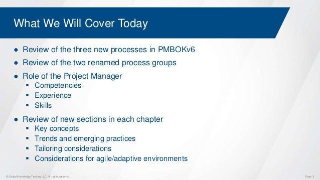 What to Expect with the New PMBOKv6 Updates Slide 3