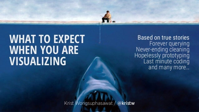 WHAT TO EXPECT WHEN YOU ARE VISUALIZING Krist Wongsuphasawat / @kristw Based on true stories Forever querying Never-ending...