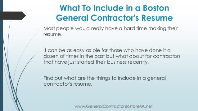 resume for general contractor
