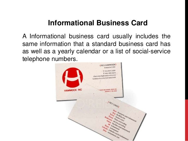 What to include in your business card 7 informational business card a informational business card usually includes the same information colourmoves Choice Image