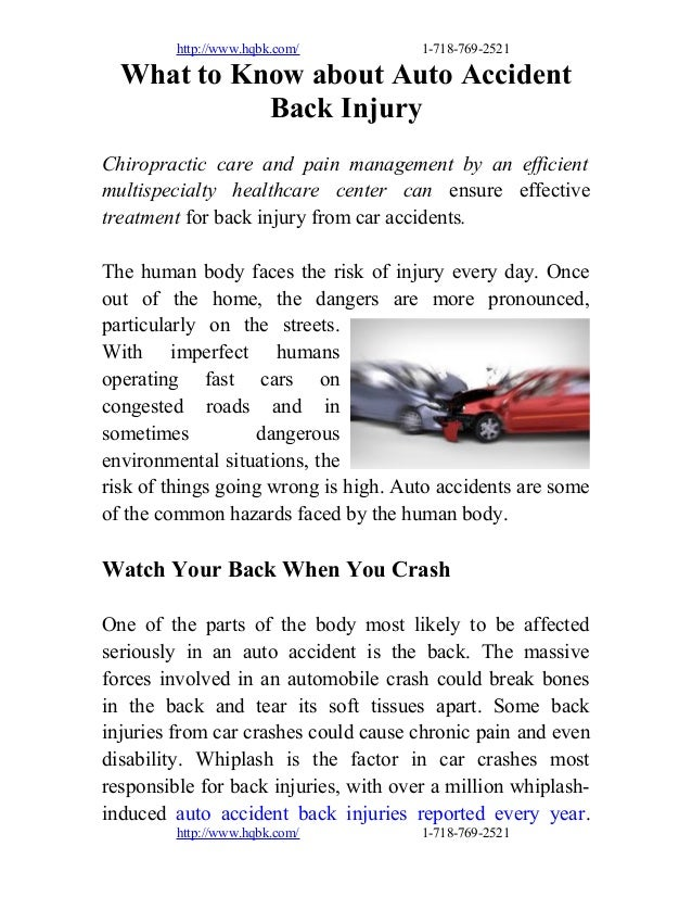http://www.hqbk.com/ 1-718-769-2521 What to Know about Auto Accident Back Injury Chiropractic care and pain management by ...
