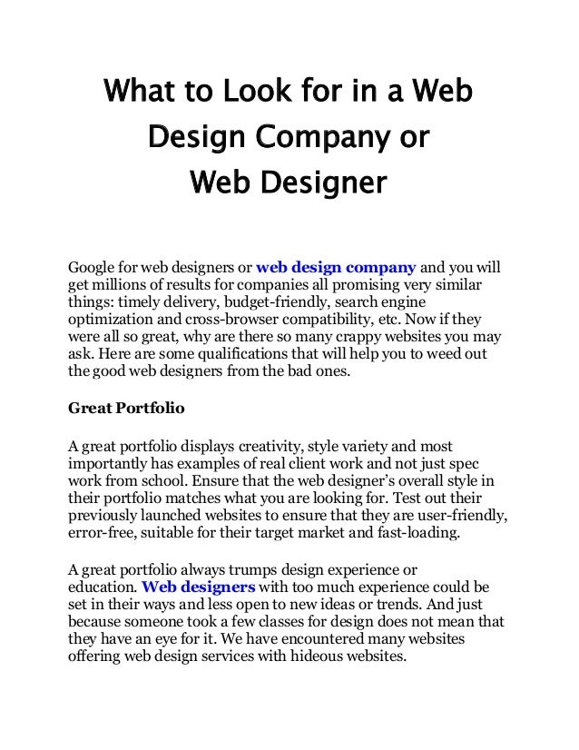 What To Look For In A Web Design Company Or Web