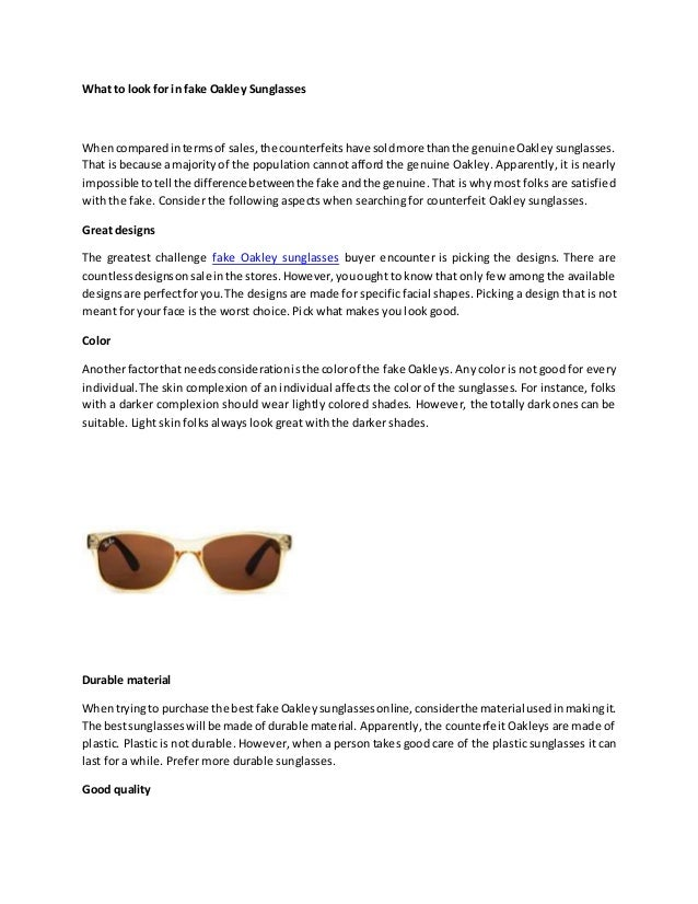 ca465cfeab6 What to look for in fake Oakley Sunglasses Whencomparedintermsof sales