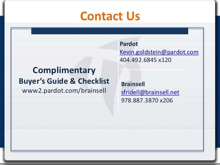 Contact Us                            Pardot                            Kevin.goldstein@pardot.com                        ...