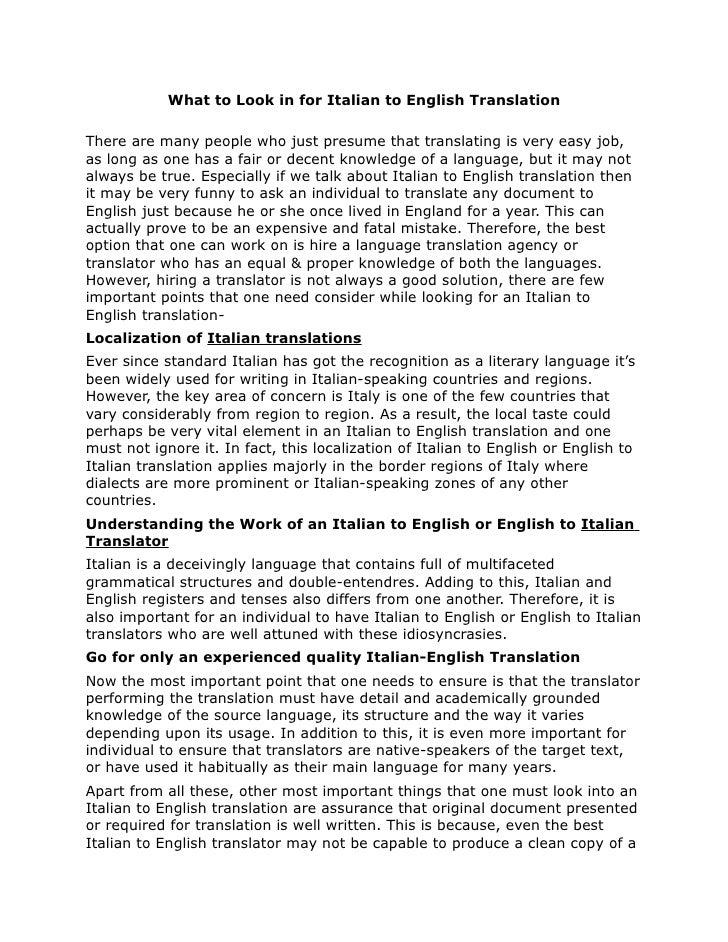 Italian Translation English To Italian: What To Look In For Italian To English Translation