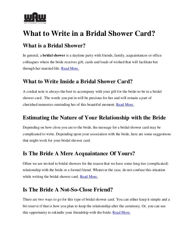 what to write in a bridal shower card 1 1 2 what