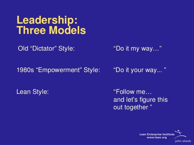 leadership style at toyota company Company's success are articulated in the nestlé  leadership style – leading to win,  the nestlé management and leadership principles 7.