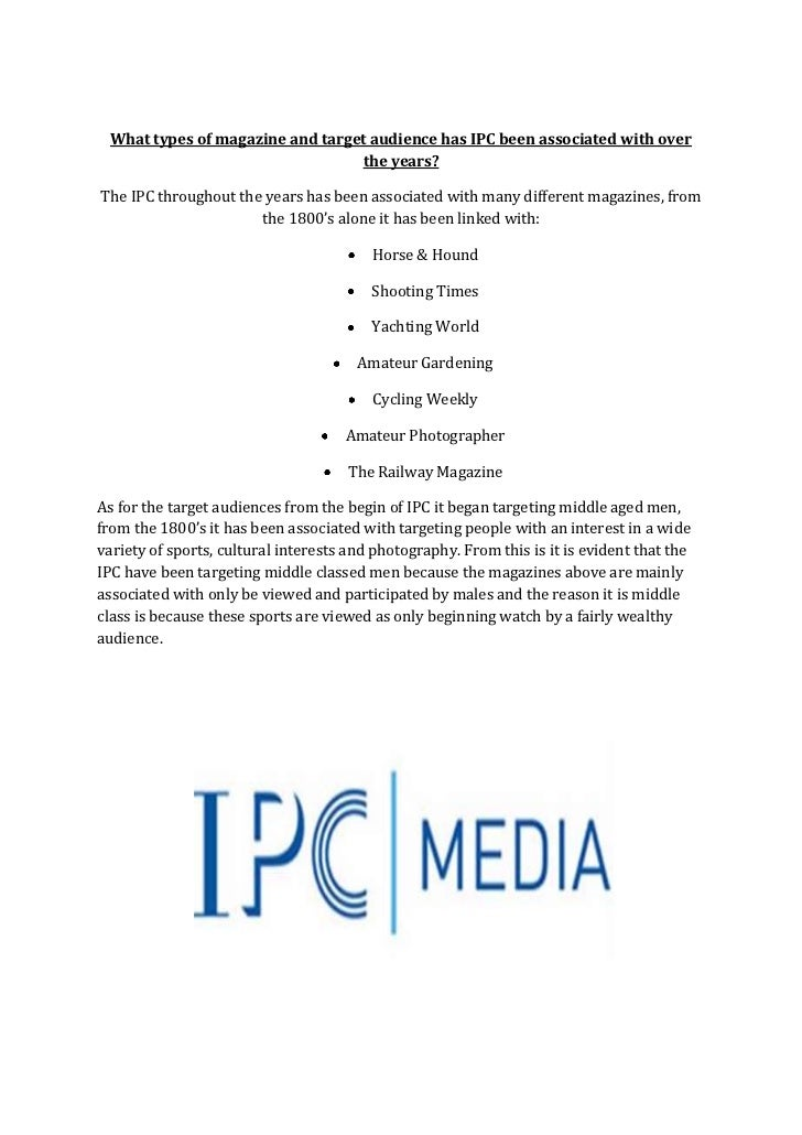 What types of magazine and target audience has IPC been associated with over                                 the years?The...