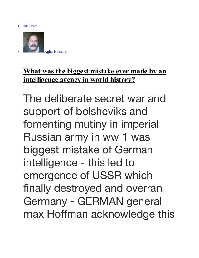 What was the biggest mistake ever made by an intelligence agency in world history Slide 2