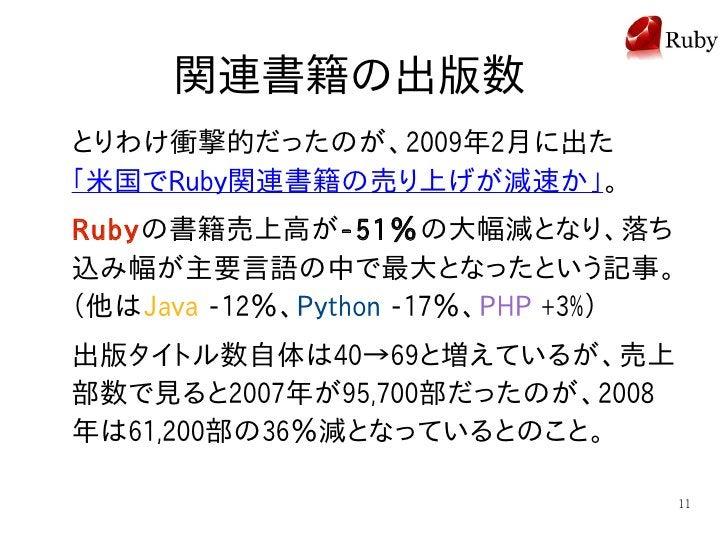 関連書籍の出版数 とりわけ衝撃的だったのが、2009年2月に出た 「米国でRuby関連書籍の売り上げが減速か」。 Rubyの書籍売上高が-51%の大幅減となり、落ち 込み幅が主要言語の中で最大となったという記事。 (他はJava -12%、Py...