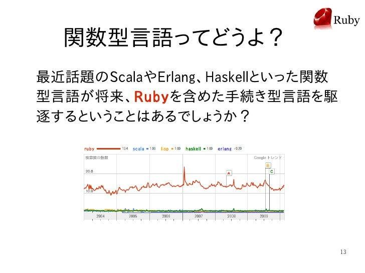 関数型言語ってどうよ? 最近話題のScalaやErlang、Haskellといった関数 型言語が将来、Rubyを含めた手続き型言語を駆 逐するということはあるでしょうか?                                     ...