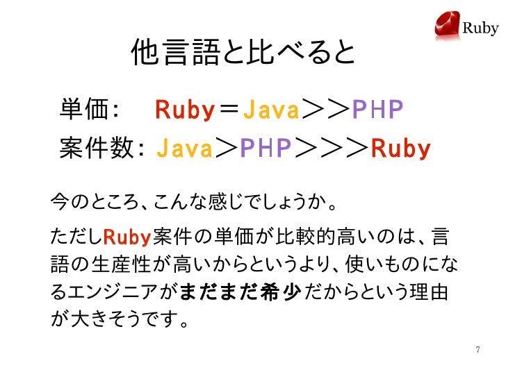他言語と比べると 単価:  Ruby=Java>>PHP 案件数: Java>PHP>>>Ruby  今のところ、こんな感じでしょうか。 ただしRuby案件の単価が比較的高いのは、言 語の生産性が高いからというより、使いものにな るエンジニアが...