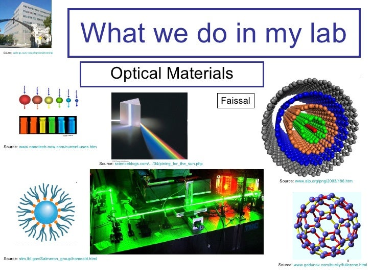What we do in my lab Optical Materials Source:  www.nanotech-now.com/current-uses.htm   Source:  stm.lbl.gov/Salmeron_grou...