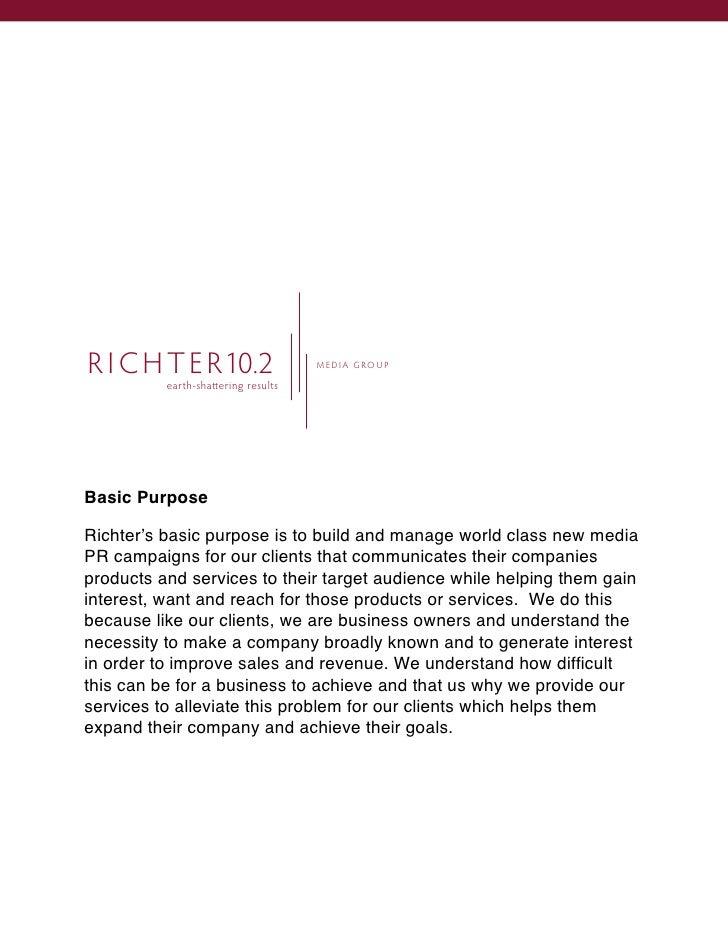 R I C H T E R10.2                   M EDI A GROUP            earth-sha ering results     Basic Purpose  Richter's basic pu...