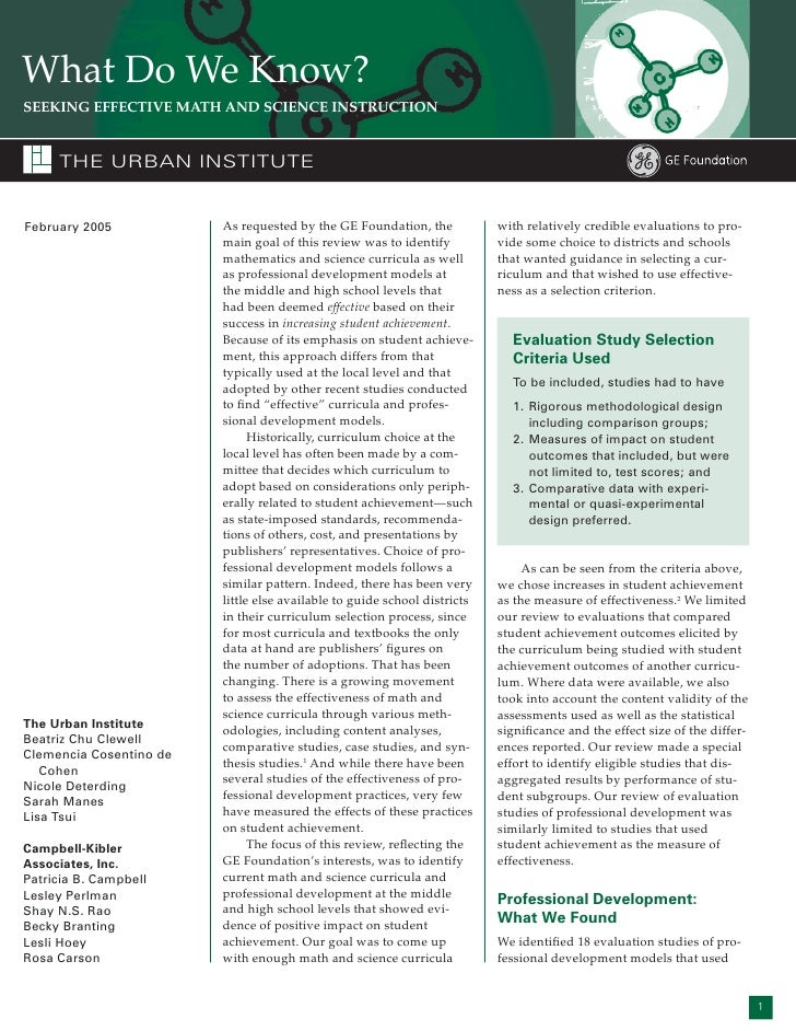 What Do We Know? SEEKING EFFECTIVE MATH AND SCIENCE INSTRUCTION        THE URBAN INSTITUTE   February 2005            As r...