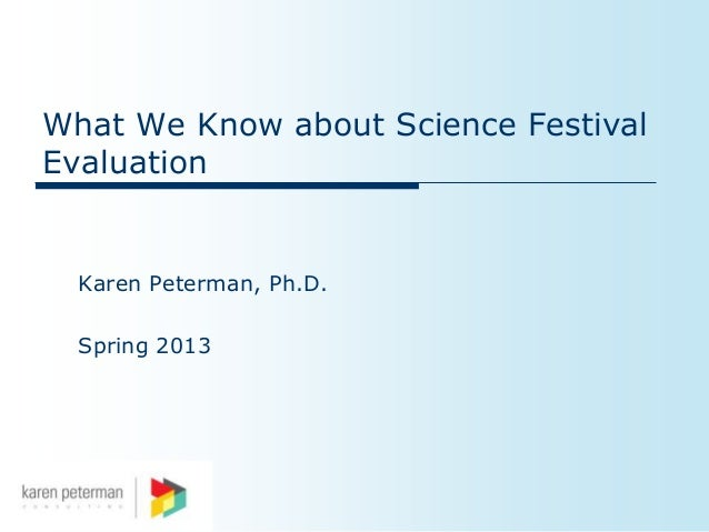 What We Know about Science FestivalEvaluation  Karen Peterman, Ph.D.  Spring 2013