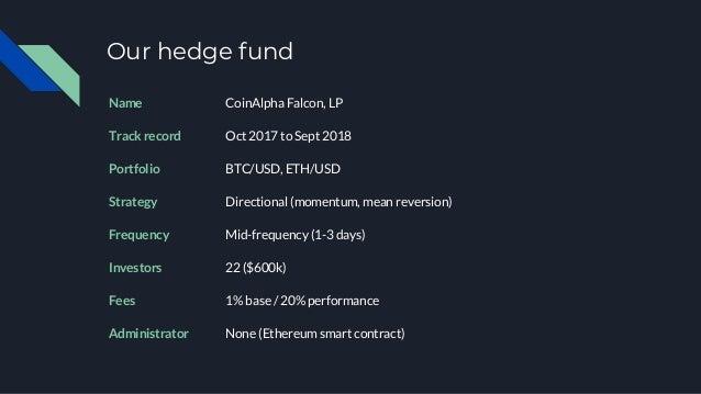Fund performance Falcon BTC ETH Return 21.8% 13.3% -28.9% Sharpe ratio 0.5 0.2 -0.3 Sortino ratio 0.74 0.27 -0.50 Max draw...