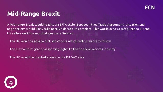 ECN Mid-Range Brexit A Mid-range Brexit would lead to an EFTA-style (European Free Trade Agreement) situation and negotiat...