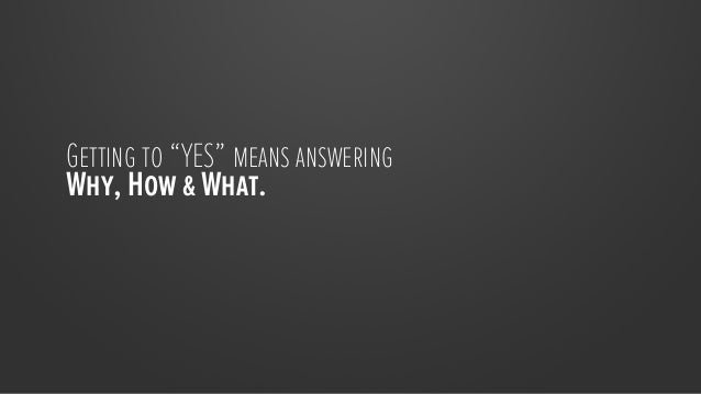 """Getting to """"YES"""" means answering Why, How & What."""