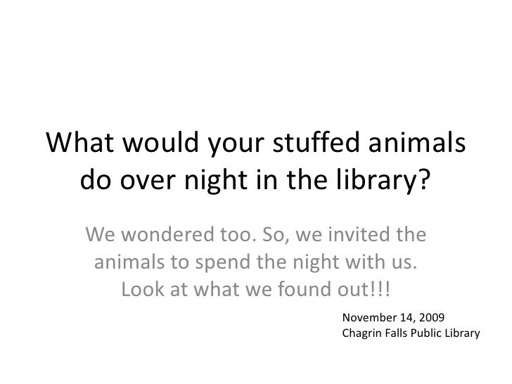 What would your stuffed animals do over night in the library?<br />We wondered too. So, we invited the animals to spend th...