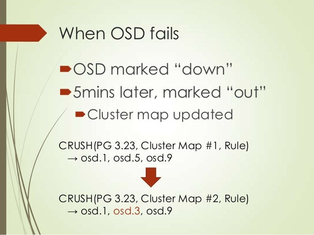 Wrap-up: CRUSH Object name + cluster map → object locations Deterministic No metadata at all Calculation done on clien...