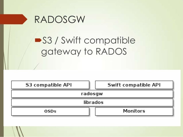 RBD RADOS A reliable, autonomous, distributed object store comprised of self-healing, self-managing, intelligent storage n...