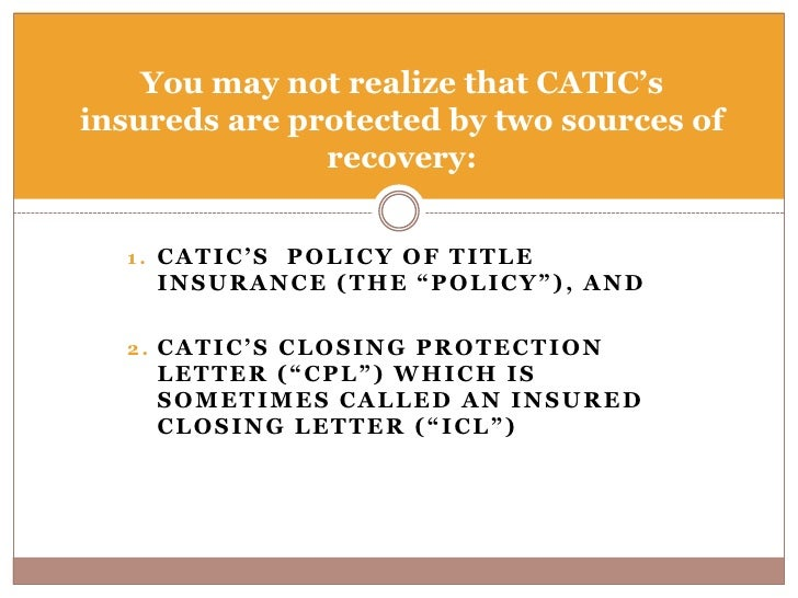 presented by closing protection letters and title insurance coverage 2