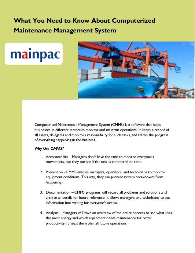 What You Need to Know About Computerized Maintenance Management System  Computerised Maintenance Management System (CMMS) ...