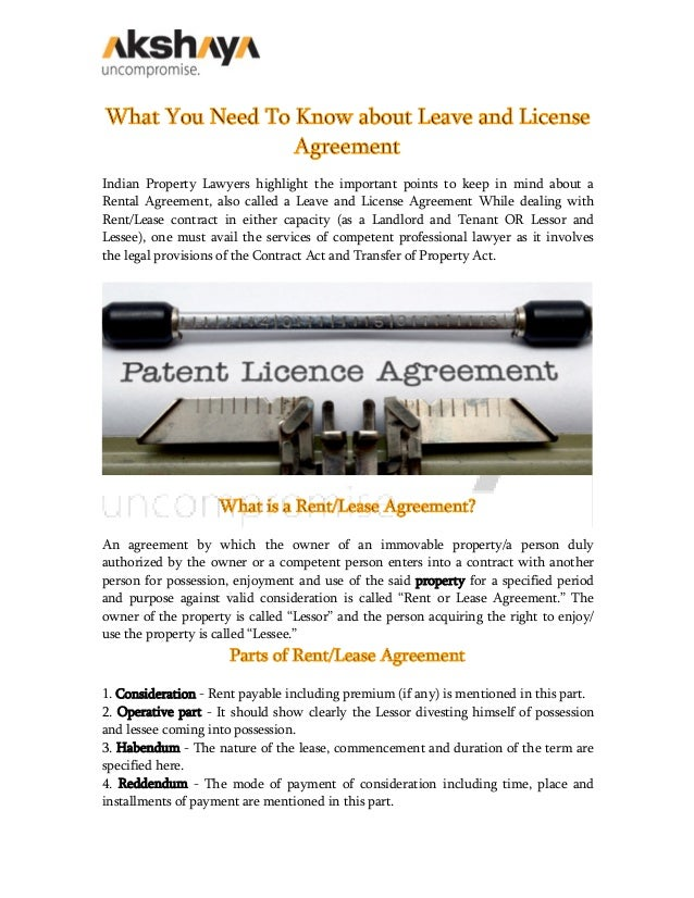 What You Need To Know About Leave And License Agreement