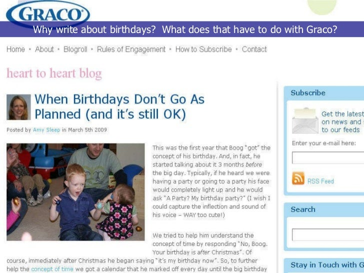 Why write about birthdays?  What does that have to do with Graco?
