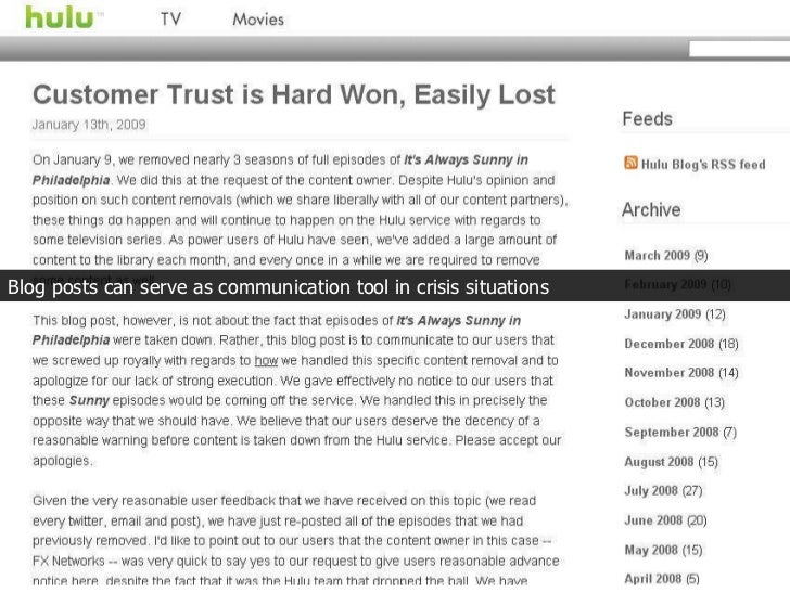 Blog posts can serve as communication tool in crisis situations