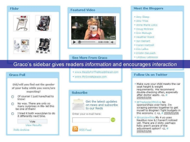 Graco's sidebar gives readers  information  and encourages  interaction